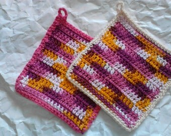 Dishcloths Set of Two in Bright Spring Colors with Loop for Hanging Crochet Dish Cloths