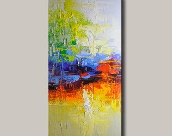 contemporary wall art,Palette Knife Painting,colorful Landscape painting,wall decor,Home Decor,Acrylic Textured Painting ON Canvas Chen xx56