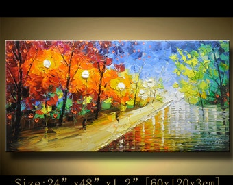 contemporary wall art,, Modern Textured Painting,Impasto  Landscape  Textured Modern Palette Knife Painting,Painting on Canvas by Chen hh26