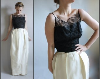 1960s Formal Gown Black and White Lace and Satin Mad Men Style XXS
