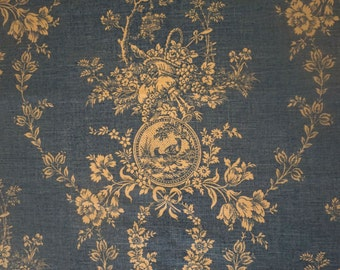 Vintage Waverly home decor fabric, blue and white Country House Toile 1 1/2 yards