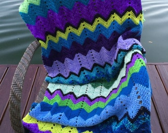 Chevron Pattern Hand Crochet Throw. Zig zag afghan. Very soft merino wool yarn in cool colors including blue,aqua,green,violet,purple,black.