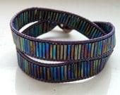 Plum Brown Leather Dark Rainbow Titanium Glass Beads Wrap Bracelet - Inspired by Shadowhunters