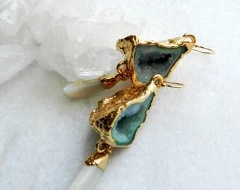 Geode earrings, agate earrings, druzy earrings, statement earrings, gold earrings, quartz earrings, crystal earrings, opal earrings