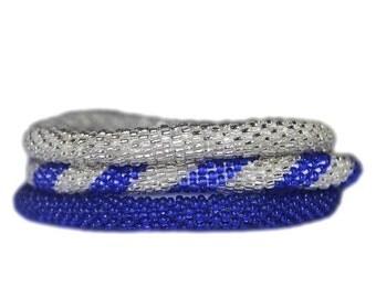 Summer Cobalt Blue and Silver Handmade Bracelets Set, Seed Beads,Nepal, BS100