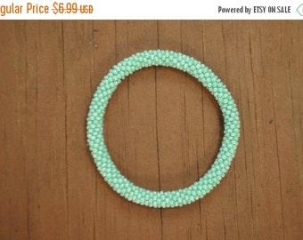 Summer Mint Green Crochet Beaded Bracelet