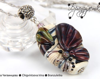 Butterfly - set pendant and earring artisan big Lampwork bead - silver-plated chain