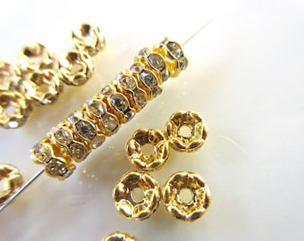 20pc Clear Czech Crystal Rhinestone Wavy spacer beads 6mm rondelle vintage style jewelry finding Gold plated brass R125