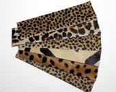 Cuff bracelet blanks, caramel Animal print - hair on hide - six pieces, set #2
