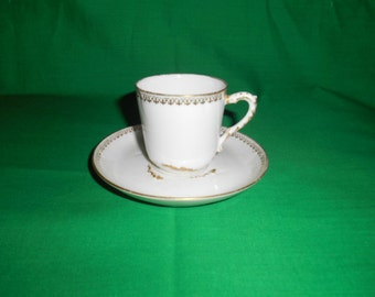 Two (2), Porcelain Demitasse Cups & Saucers, from Ch. Field Haviland / GDM, of Limoges, France, in a Unknown Pattern.