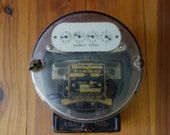 Vintage Electric Meter, Westinghouse, Exterior House Meter, Watt Hour Meter, Industrial Decor, Supplies, Home Decor, Metal, Black, Kilowatt