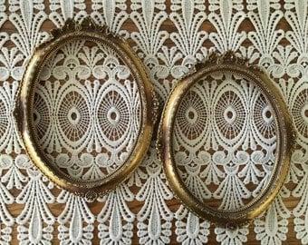 Vintage Picture Frames, Open Frames, Oval, Set of 2, Ornate, Home Decor, Frames, Antique Gold Tone, Wall Decor, Picture Frames, Regency