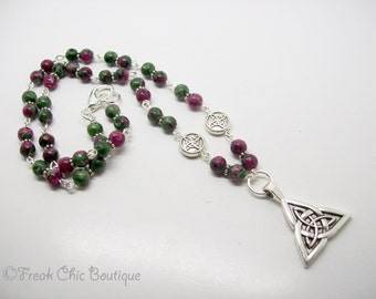 Triquetra Necklace - Triquetra Pendant - Ruby Fuschite Gemstone Necklace - Celtic Triquetra Necklace - Celtic Necklace - Silver Triquetra
