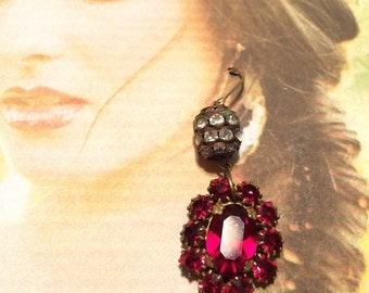 Art Deco Earrings Bridal Red Paste Bohemian Czech Dangle Earrings
