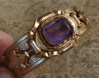 Czech Amethyst Bracelet Victorian Revival Vintage Rhinestone Cuff Hinged Bangle