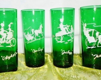 Vintage Emerald Green Drink Glasses, Set Of 4, White Designs, Open Sleigh, A Bicycle Built For Two, The Hansom, Gas Buggy, Entertaining