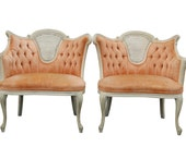 Pair of 1960's Peach Tufted Velvet Bergere Chairs