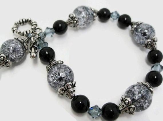 Crackle Glass Bracelet beaded black jasper gemstone Swarovski sapphire crystal antique silver beadwork