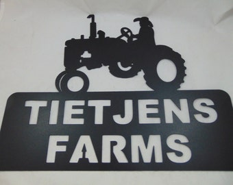 Metal Tractor Sign, Custom Made with Your Name, Address Numbers or Business Name!