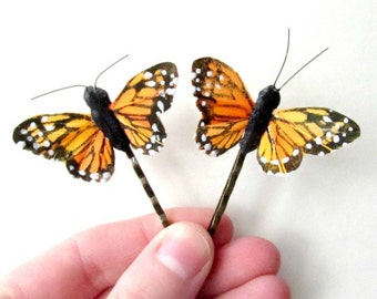 Butterfly Hair Clips, Monarch Butterfly Bobby Pin Set. Orange and Black Butterfly Hair Accessories. Whimsical Feather Butterflies for Hair.