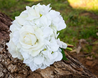 Hydrangea and Roses Wedding Bouquet (Great Keepsake Item)