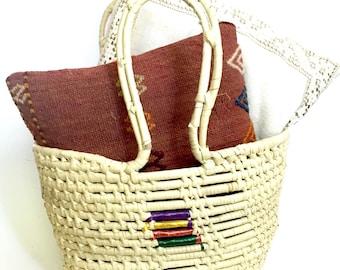 Boho Grass Coil Handled Basket Tote