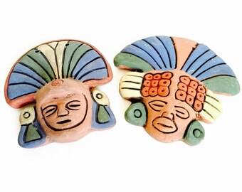 Mayan Aztec Decirative Terra Cotta Face Plaques