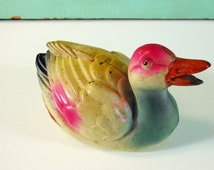 Vintage Celluloid Ducks, Pink and Blue Toy Bird