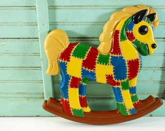 Vintage Plaster Rocking Horse Crazy Quilt Nursery Decor Plaque Red, Yellow, Blue and Green