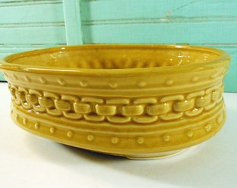 Vintage Oval Mustard Yellow Linked Chain Pattern Planter