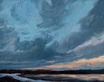 Bosque Sunrise, 02 - Bosque del Apache - New Mexico - Original Oil Landscape Painting