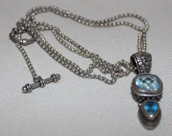 Sterling Silver Necklace  and Pendant with Aquamarine and Topaz Colored Stones