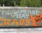 Chesapeake Bay Crabs     Sign, hand painted, original, Z FS CB3
