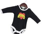 Punk Rock Tattoo Mum Heart Baby Grow, Alternative New Baby Gift, Biker Baby Grow, Love Mum Tattoos