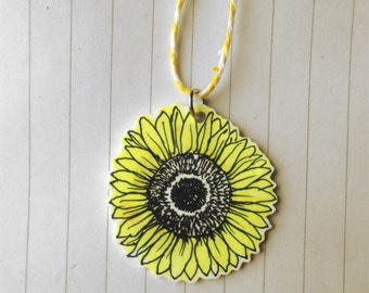sunflower yellow shrinkie necklace