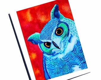 Owl Greeting Card Watercolor Card Bird Notecard Owl Thank You Owl Stationery Bird Painting Colorful Card Blank Greeting Card Owl Card