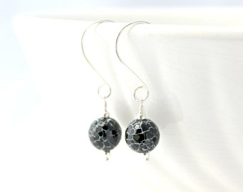 Black and White Snakeskin Agate and Sterling Silver Earrings / Black and White Earrings / Handcrafted Natural Stone Earrings / E124
