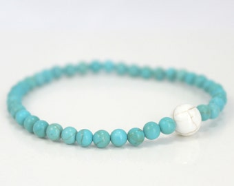 Turquoise and White Howlite Stone Stretch Bracelet / Gifts under 20