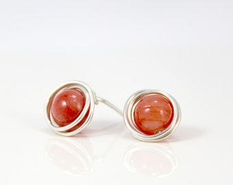 Vibrant Mango Orange Quartzite and Sterling Silver Post Earrings / Wire Wrapped Jewelry / Simple Silver Jewelry / Gifts under 20 / E302