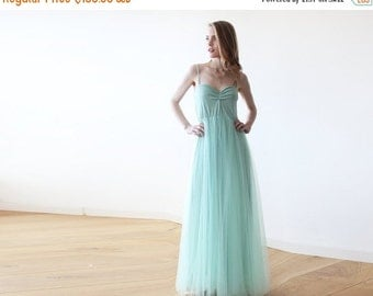 Mint maxi tulle ballerina gown, Sweetheart neckline maxi mint gown