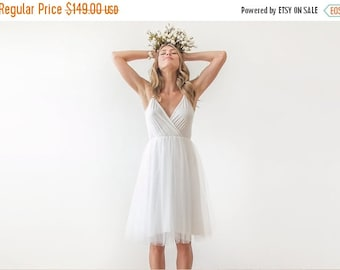 Ivory straps short wedding gown , Wrap tulle midi wedding gown , Short rehearsal tulle gown
