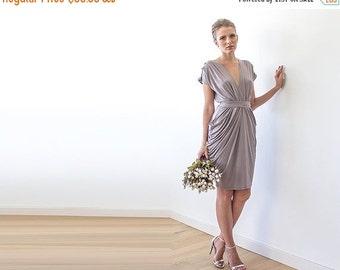 Bridesmaids taupe midi formal dress, Knee length taupe dress