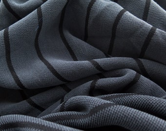 ℳ Charcoal Gray with Black pinstripe Cotton 2 Way Stretch Spandex 58 inch FC12578 Fabric by the yard, 1 yard