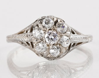 Antique Engagement Ring - Antique 1920s 18k White Gold Bow Design Diamond Cluster Engagement Ring