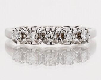 Vintage Wedding Band - Vintage 1940's 14k White Gold Diamond Wedding Band