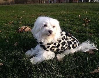 Sassy Tan and Black CHEETAH Fleece Dog Coat - SMALL - Adjustable with Velcro, Lined, Polar Fleece, 2-layer