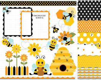 Clipart Combo - Bumble Bee Clip Art / Digital Clipart - Instant Download (Updated)