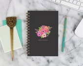 """2016 Weekly Planner """"Floral Bouquet on Black"""" with monthly spreads, back pocket, stickers, adhesive tabs and more"""