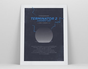 Terminator 2 ~ Minimal Movie Poster, Retro Minimalist Art Print by Christopher Conner