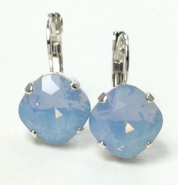 Swarovski Crystal 12MM Cushion Cut Lever- Back -Drop Earrings - Designer Inspired - Air Blue Opal - On SALE 20. FREE SHIPPING